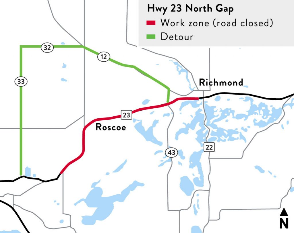 Hwy 23 North Gap Work Zone Map