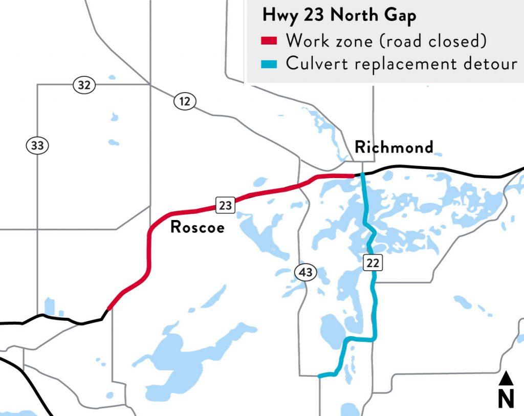 Hwy 23 North Gap Culvert Map